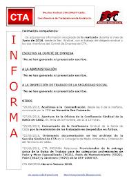 C.T.A. INFORMA, LO REALIZADO EN JUNIO DE 2018
