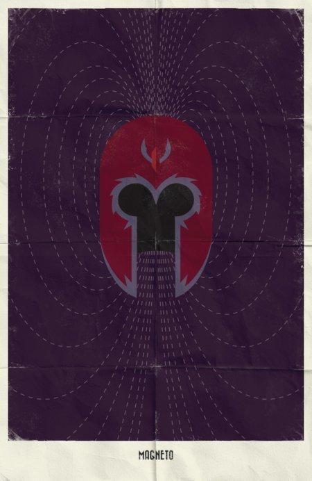 marko manev ilustração poster minimalista super heróis marvel Magneto