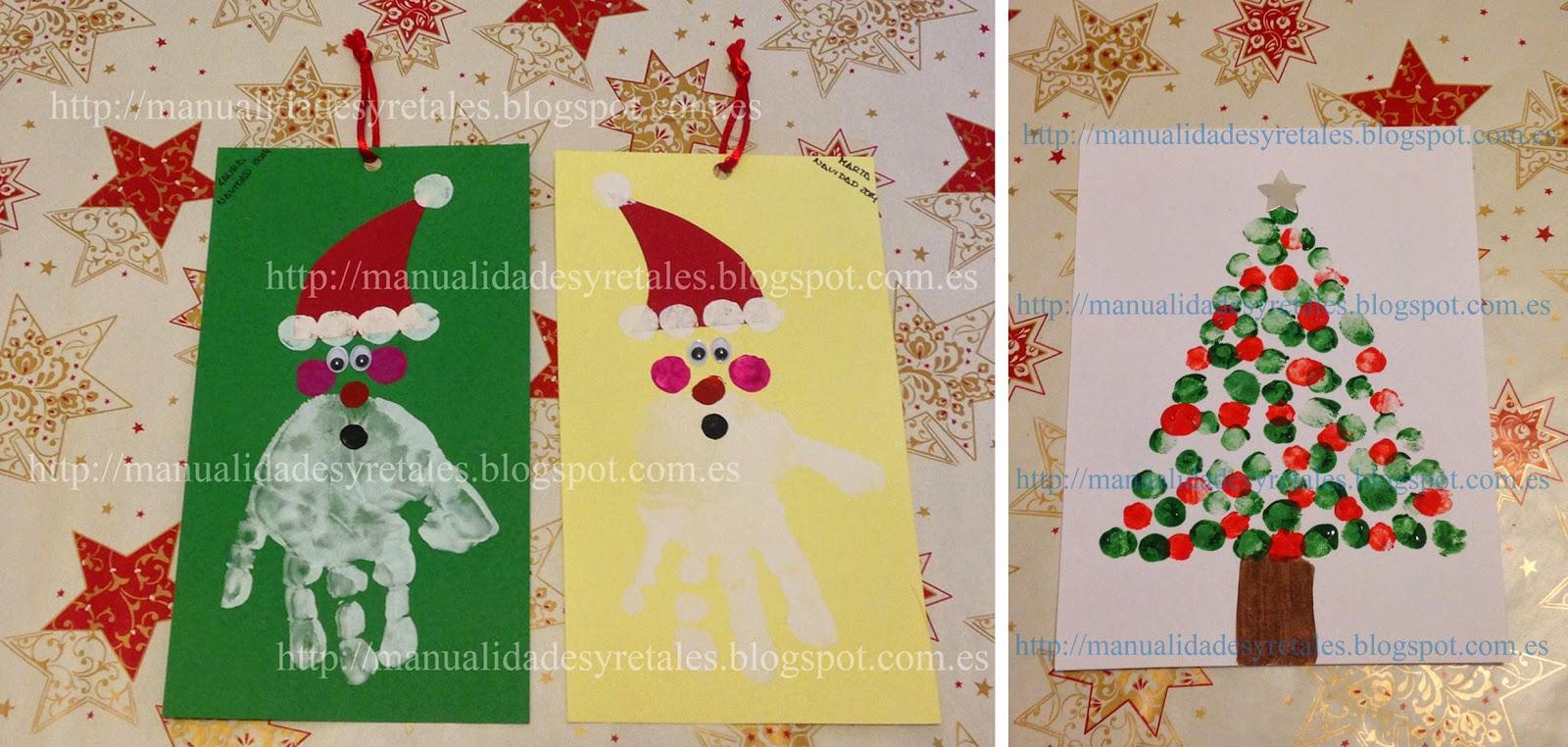 Manualidades y retales postal navide a pintura ni os - Manualidades originales de navidad ...