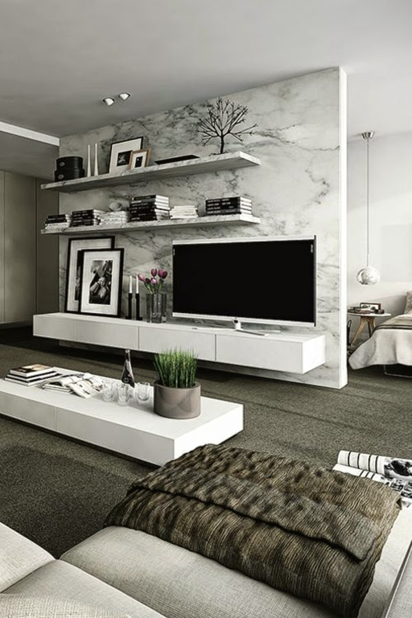 How to use modern tv wall units in living room wall decor for Living room units