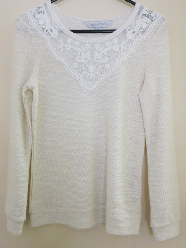 Cream jumper with sparkly thread and lace neckline