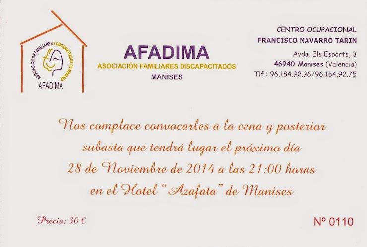 CENA DE AFADIMA EL VIERNES DÍA 28 DE NOVIEMBRE EN EL HOTEL AZAFATA
