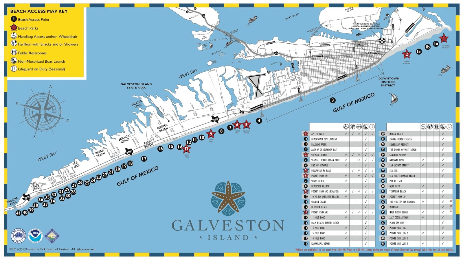 below is a map of galveston island beaches the paid beaches are designated with a red star here is a link to a larger version of the map beach map