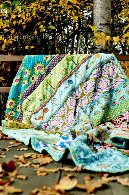 "luzia pimpinella BLOG | DIY | bunte genähte patchwork decke mit ""treehugger"" stickmotiven 