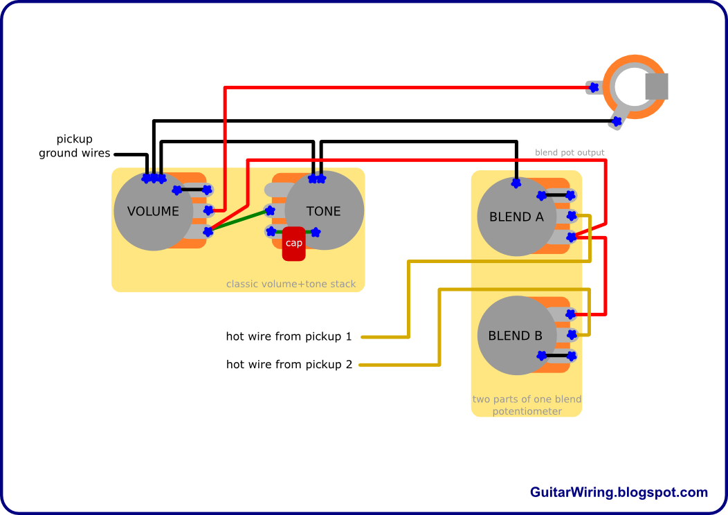 blendpot electric guitar pot wireing diagram diagram wiring diagrams for 2 Pickup Guitar Wiring at n-0.co