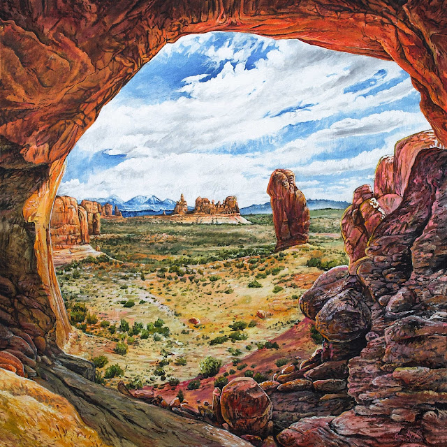 Acrylic Painting of the view inside Double Arch Arches National Park Utah by Artist Aaron Spong