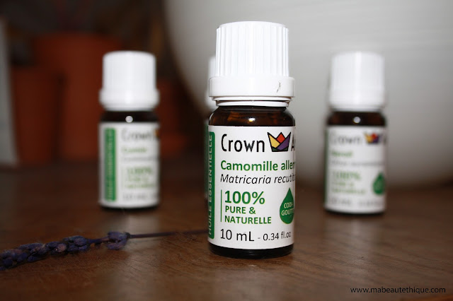 crown aroma huiles essentielles 100% naturelles bio pures neroli camomille allemande myrte cumin myrte