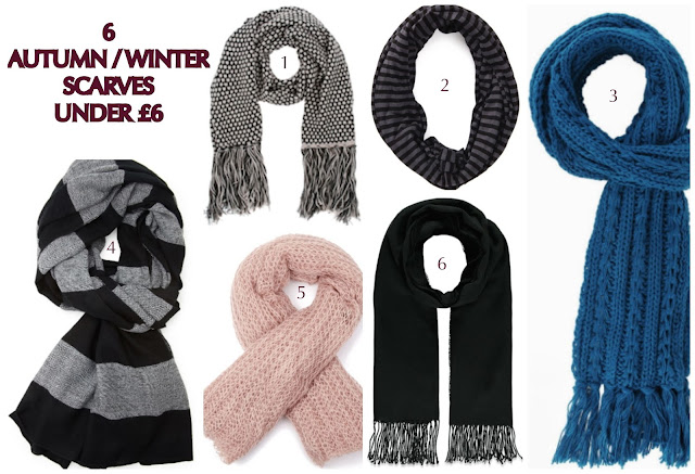 6 autumn winter scarves under £6 pounds