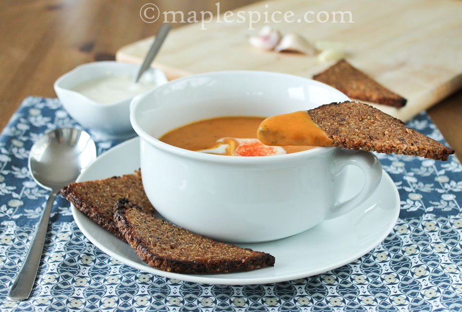Creamy Smoked Paprika Sweet Potato and Dill Soup with Butter Grilled ...