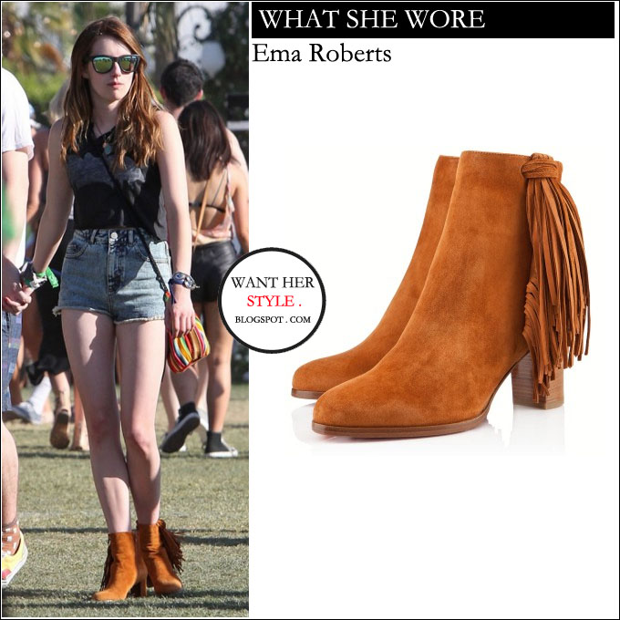 WHAT SHE WORE: Emma Roberts in camel suede fringed ankle boots at ...