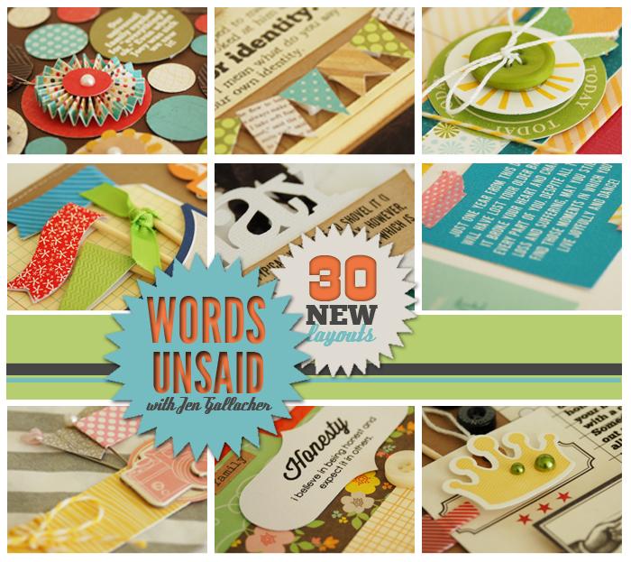 Words Unsaid Scrapbook Journaling Workshop by Jen Gallacher: http://jen-gallacher.mybigcommerce.com/words-unsaid-self-paced-scrapbooking-workshop/