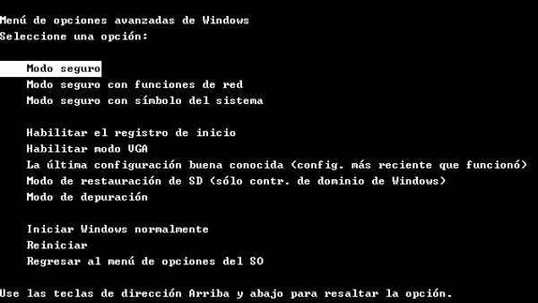 ventana para entrar en modo seguro antes de iniciar sistema operativo