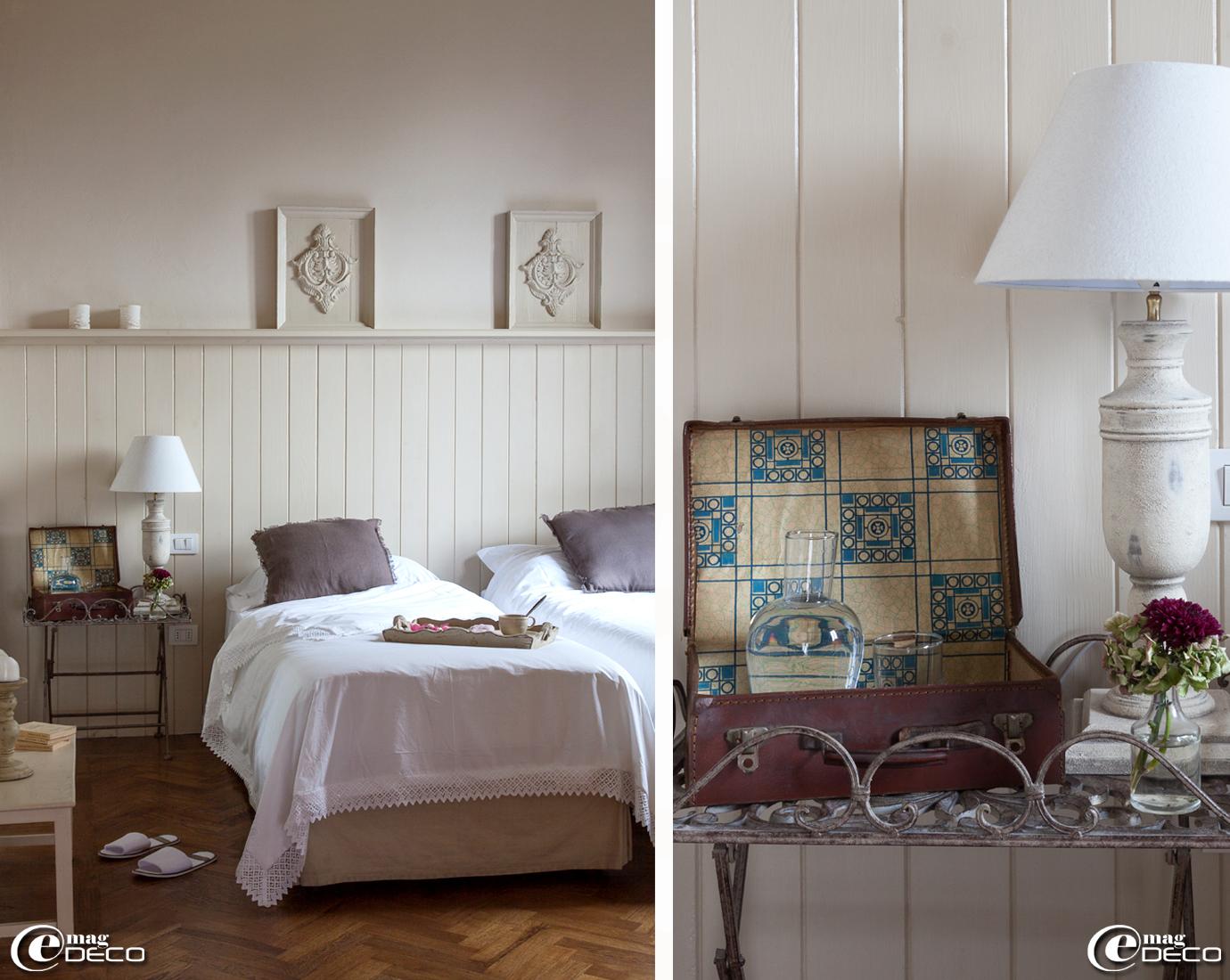 Housse de couette 'Zara Home' et coussins 'Broste Copenhagen' dans la chambre Segreti de la maison d'hôtes de charme 'Valdirose', en Toscane