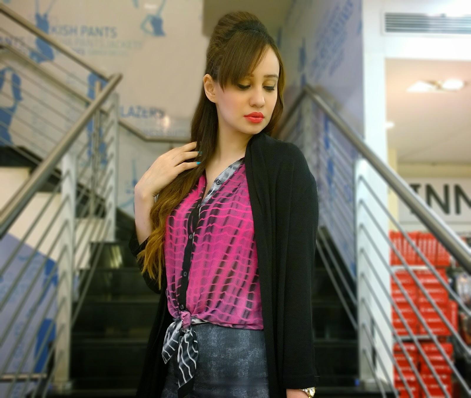 Reliance Trends Tie & Dye Shirt,Cardigan & Pencil Skirt