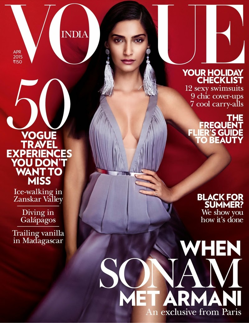 Sonam Kapoor bares cleavage for the Vogue India April 2015 cover
