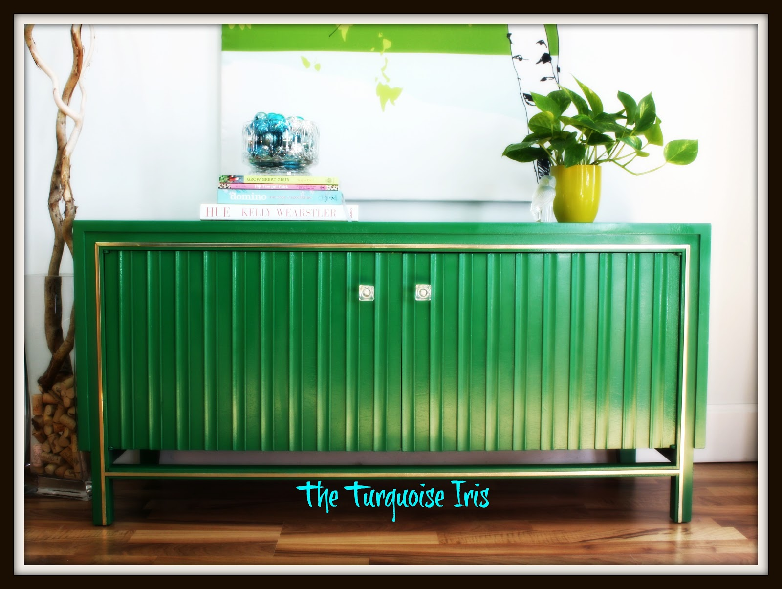 Green, Gold And Glossy Vintage Media Cabinet