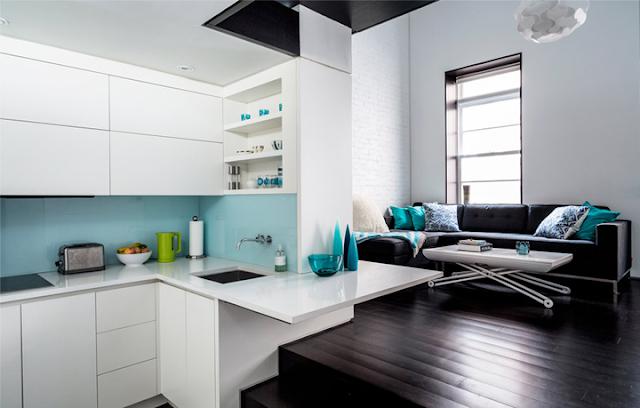 Accente turcoaz într-un loft de numai 40 m²