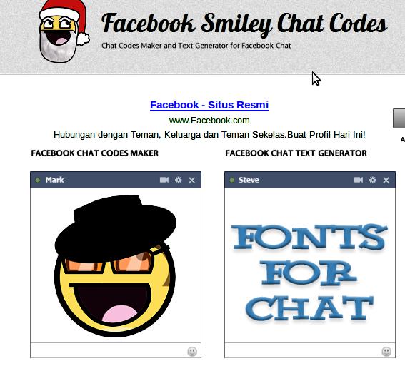 Facebook Chat text Generator , untuk membuat kode facebook berupa
