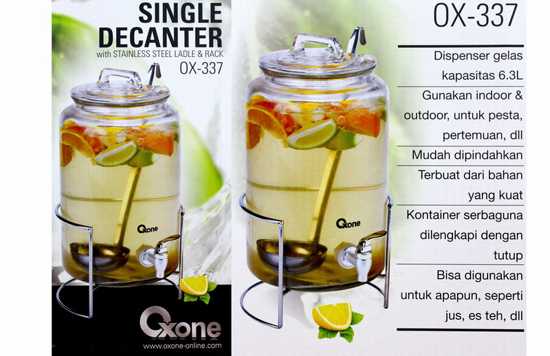OX-337 Single Decanter Oxone with Stainless Steel Ladge & Rack - 6.3lt