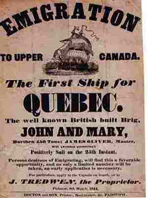 Climbing My Tree: Poster Advertisement for Passage to Upper Canada, approx. 1844