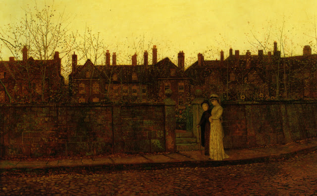 """In the Golden Gloaming"" John Atkinson Grimshaw (1881) dusk in the fall, creepy, yellow, an evening walk, fine art"