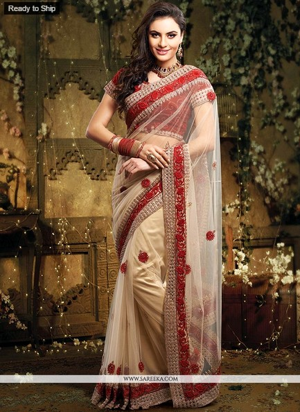Graceful Cream Resham Border Work Saree