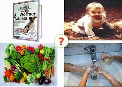 Rửa ta cho trẻ con sau khi chơi ở nơi có cát và vật nuôi. Trẻ em nên được dạy không nên có thói quen ăn đất