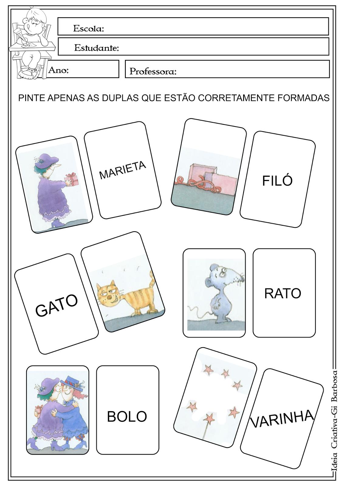 Atividade Filó e Marieta Eva Furnari Alfabetização Cartas