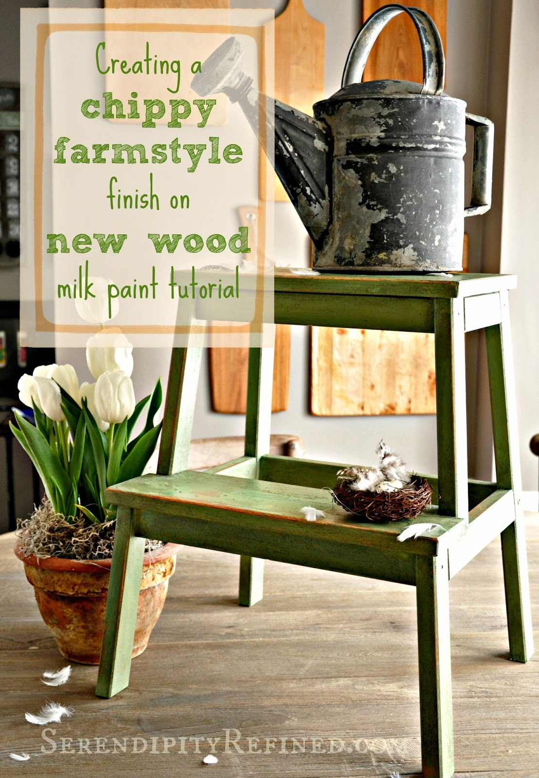 Creating A Chippy Farmstyle Finish On New Wood {Milk Paint Tutorial}