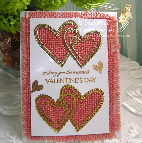 pink burlap and gold hearts for valentines front