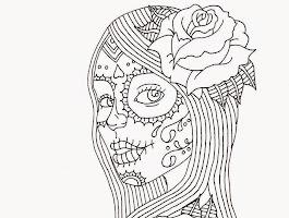 Day Of Dead Sugar Skull Girl Drawing