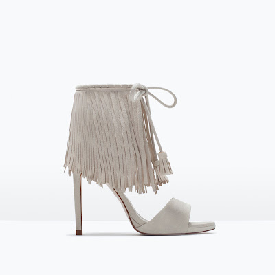 Zara White High Heeled Fringe Sandals
