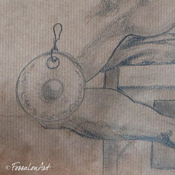 Disegno per orecchini in rame, corda e frammenti di conchiglie