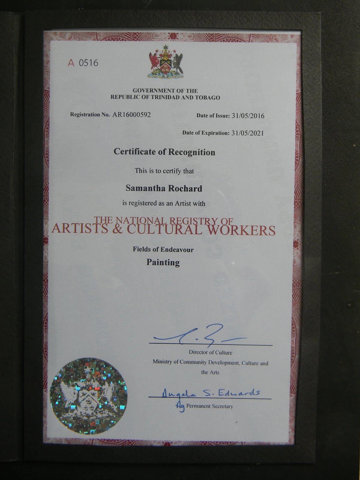 Trinidad and Tobago Artists Registry Certification