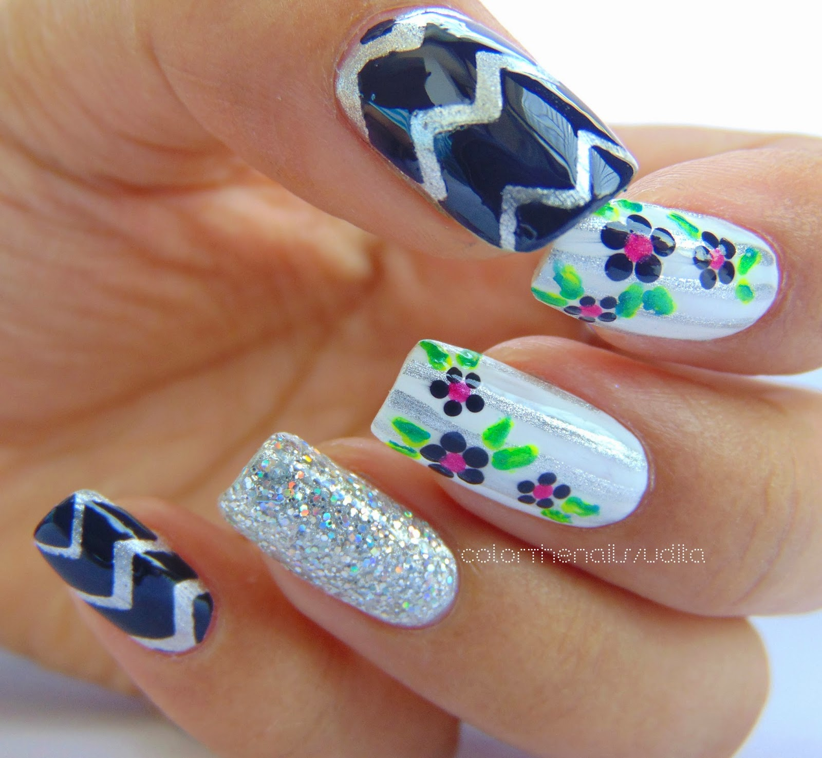 Classic Floral & Stripes Nail Art | Color The Nails