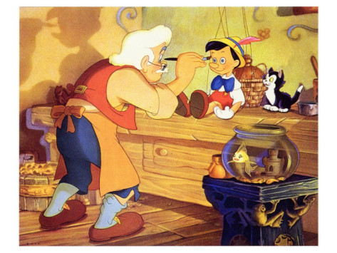 Gepetto creating the boy in Pinocchio 1940 animatedfilmreviews.filminspector.com