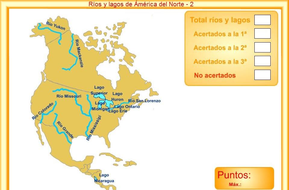 APRENDER ES DIVERTIDO MAPA DE ROS Y LAGOS DE AMRICA 1