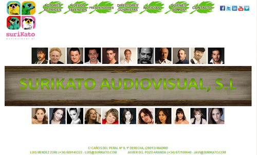 página web de Surikato Audivisual: Representación de actores y actrices, Representación artística
