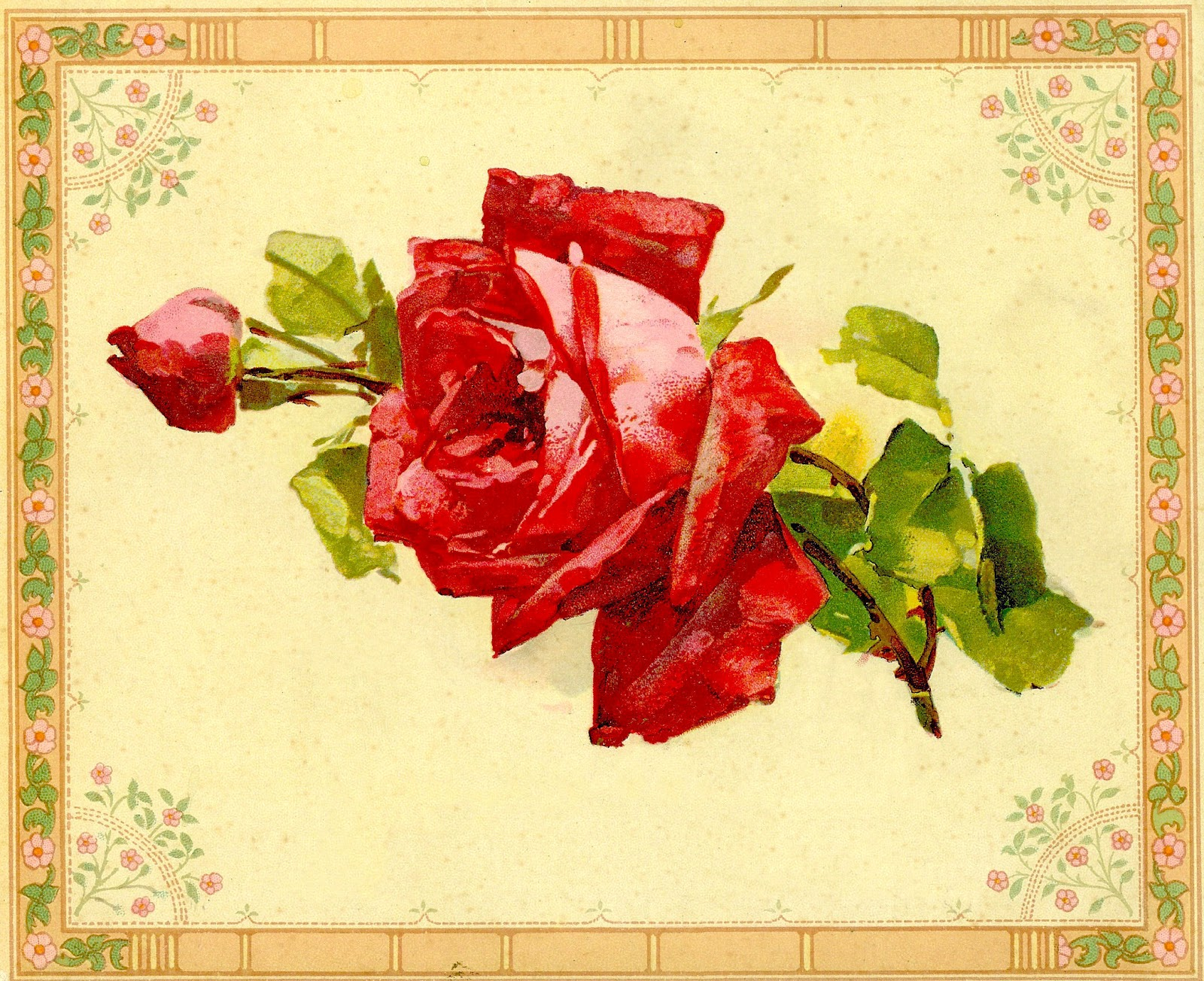 Vintage Red Rose Clip Art