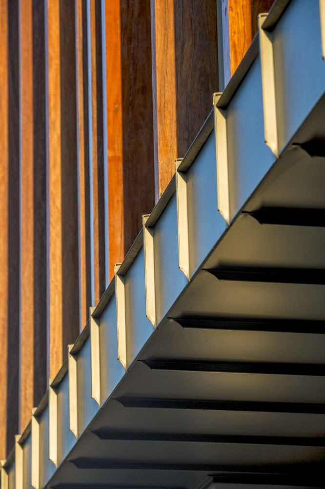 Facade detail on Beautiful Box House by Zouk Architects