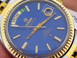 TITONI COSMO KING 14k PRESIDENT MODEL SUNBURST BLUE DIAL - 25 JEWELS ROTOMATIC AS 1882-83