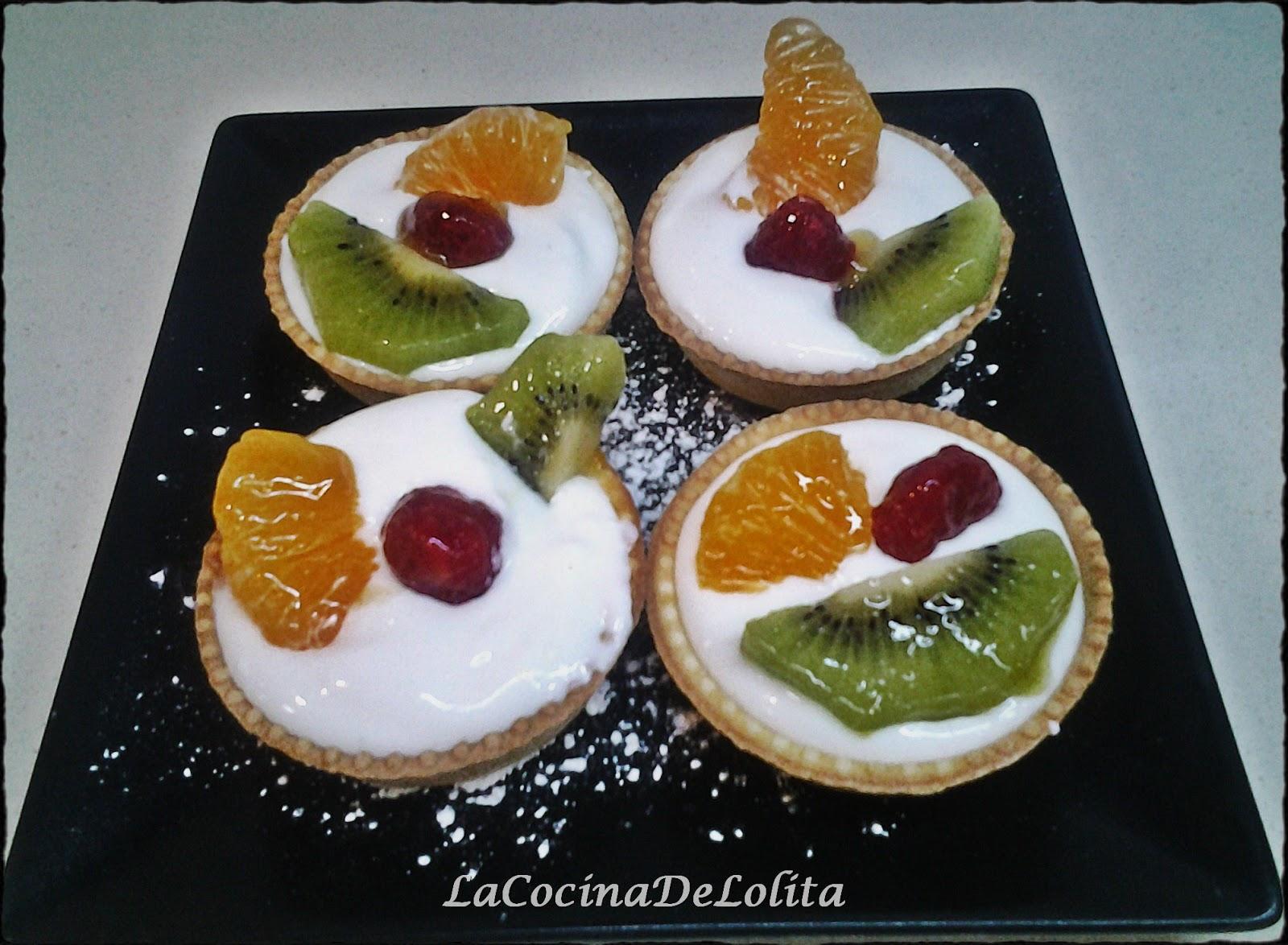 Tartaleta con crema de queso y fruta