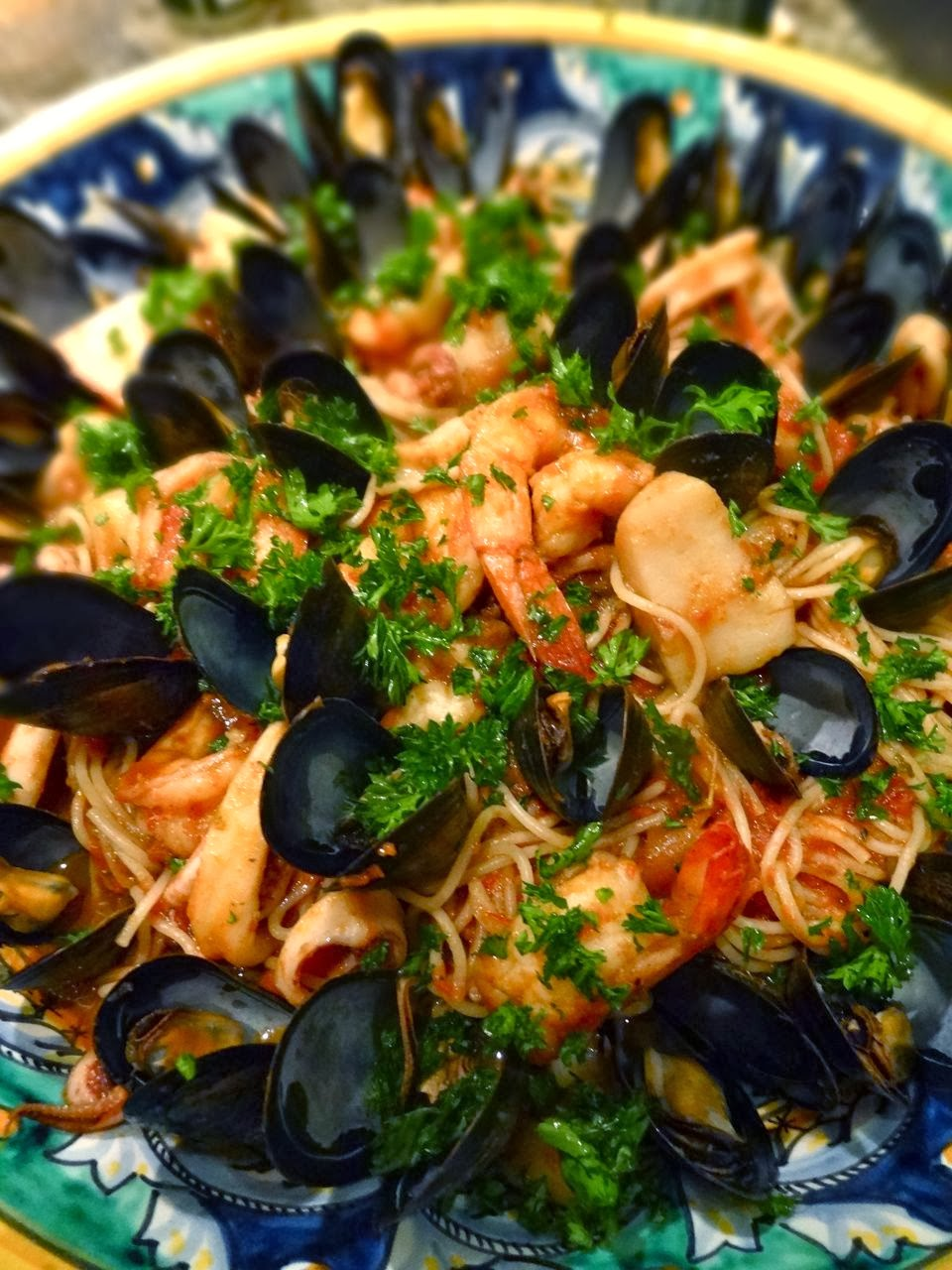 Seafood Pasta With Mussels Scallops Shrimp Squid