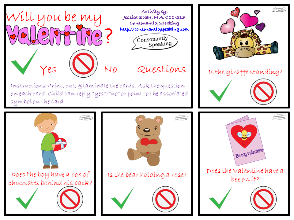 Speechie Freebies: Will You Be My Valentine? Yes/No Questions