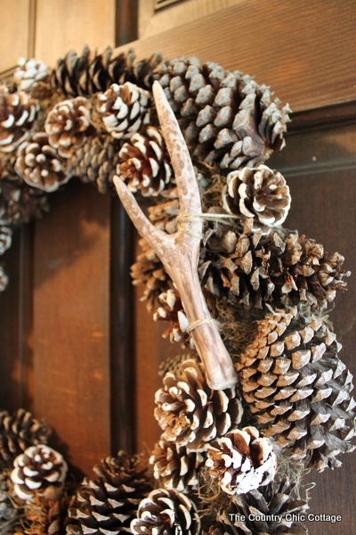 pine cone pottery pottery barn knock off faux antler wreath the country chic cottage