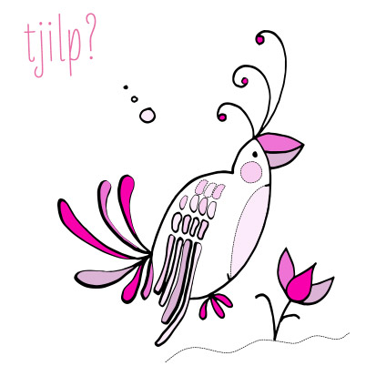 Tropical bird illustration by Marieke Blokland, Bloknote
