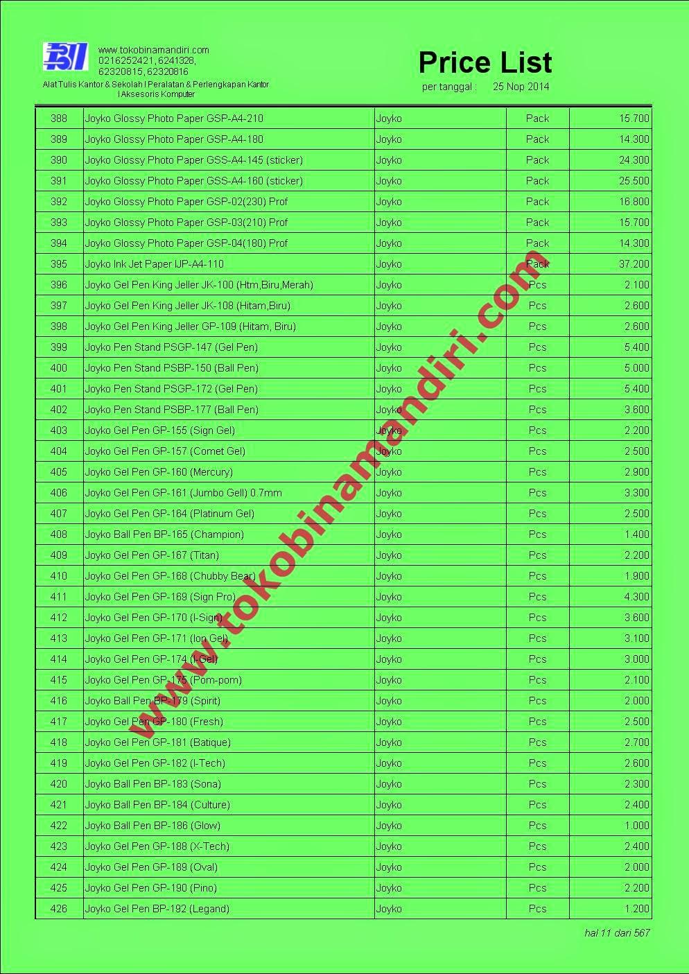 Daftar Harga Alat Tulis Kantor 2015 www.stationery.biz.id
