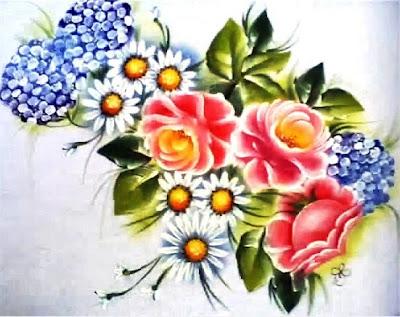 pintura em tecido pano de prato flores