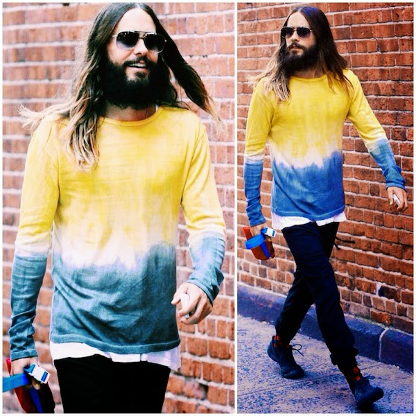 Jared-Leto-The-Elder-Statesman-yellow-blue-tie-dye-dip-dye-sweater-August-2014-New-York