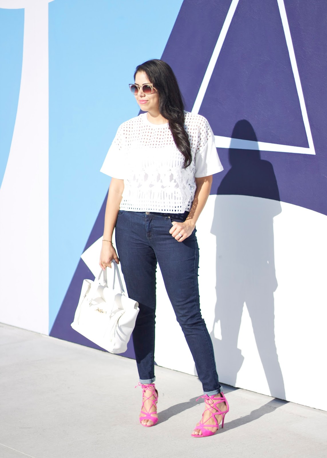San Diego Fashion Blogger, Forever 21 crochet top, Cabi knight jeans